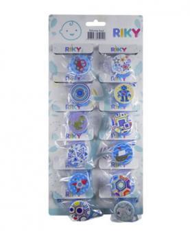 Prendedor de Chupeta Azul de Silicone Cartela com 12 Unidades - 305732