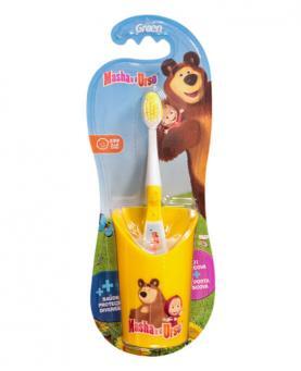 Green Escova Dental Infantil Macia + Copo Masha e o Urso - IN111