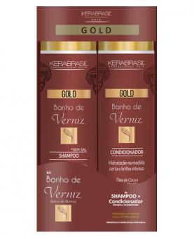 Kera Brasil Banho de Verniz Kit Gold Shampoo + Condicionador 300ml - 45039