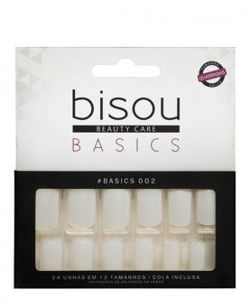 Bisou Unhas Basics Quadrada com Cola - U-002