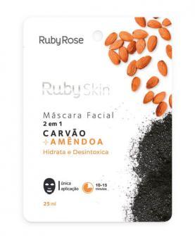 Ruby Rose Máscara Facial Carvão + Amêndoas 25ml - HB706