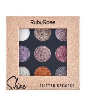 Ruby Rose Paleta de Sombra Glitter Cremoso Shine - HB8407-G