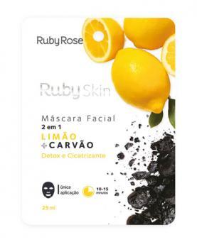 Ruby Rose Máscara Facial Limão + Carvão 25ml - HB707