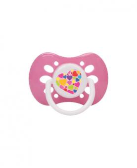 Petita Chupeta Ventilada Rosa Tamanho 1 com Bico Ortodôntico de Silicone - 3260-RS