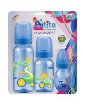 Petita Kit Azul de Mamadeiras Bico em Silicone com 03 unidades 60ml, 140ml e 240ml - 3421-AZ