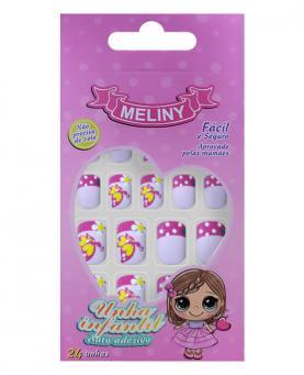 Meliny Unha Infantil Auto Adesiva com 24 unidades - 52787-09