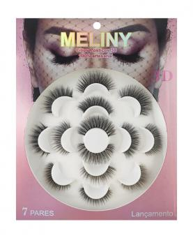 Meliny Cílios Postiços 3D Kit com 7 Pares 100% Artesanal - 61798