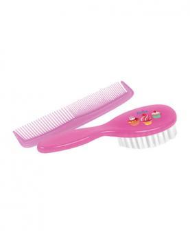 Petita Kit Infantil Escova e Pente Rosa - 1161-RS