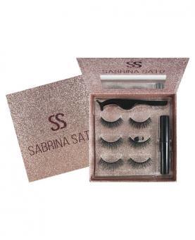 Sabrina Sato Cílios Postiços com 03 unidades Embalagem Rosa Cintilante + Cola + Aplicador - SS1296