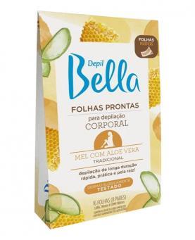 Depil Bella Folhas Prontas Corporal Mel e Aloe Vera com 16 folhas - 2597