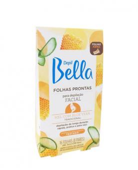 Depil Bella Folhas Prontas Facial Mel e Aloe Vera com 16 folhas - PA1221