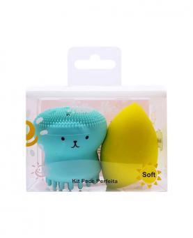 Hello Mini Kit Face Perfeita Esponja de Limpeza Facial Polvo + Esponja para maquiagem - KIT259
