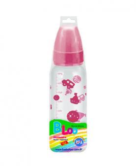 Baby Loo Mamadeira Rosa Bico Redondo PVC 240ml - 86