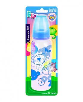 Baby Loo Mamadeira Azul Bico Redondo PVC Blister 240ml - 89
