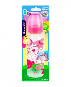 Baby Loo Mamadeira Rosa Bico Redondo PVC Blister 240ml - 90