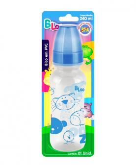 Baby Loo Mamadeira Azul Bico Redondo Cristal PVC Blister 240ml - 98