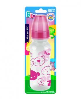 Baby Loo Mamadeira Rosa Bico Redondo Cristal PVC Blister - 99