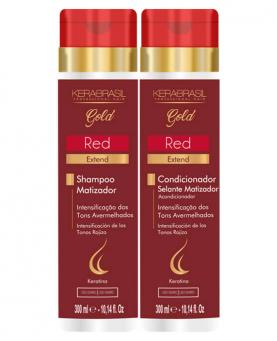 Kera Brasil Red Extend Kit Gold Shampoo + Condicionador 300ml - 23016