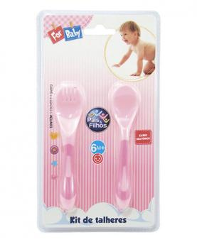Pais e Filhos Kit Talheres de Plástico Garfo e Colher Rosa - 7827